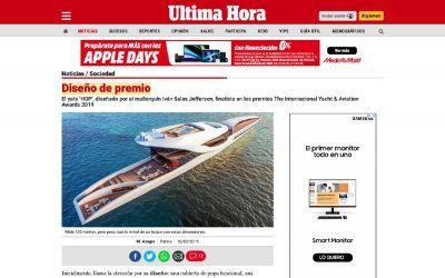 """El yate 'hop', diseñado por el mallorquín iván salas jefferson, finalista en los premios """"the internacional yacht & aviation awards 2019"""